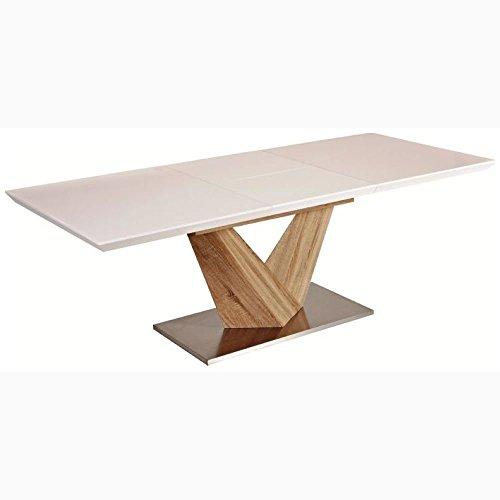 JUSTyou Alaras Table à rallonge Sonoma Chêne/Blanc 75 x 90 x 160-220 cm
