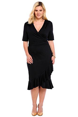 22cee7b580eada cooshional Damen Kleider Große Größen Wrap Volant Abendkleid V-Ausschnitt  Cocktailkleid Knielang Frauen Midi- ...