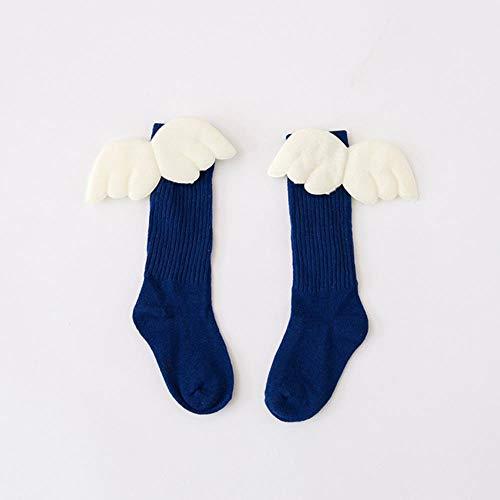 Fat Mashroom Girls Kid Socks Strümpfe Angel Wing Child Long Kniestrümpfe Candy Color Socke für Girls Child Vertical Striped Hose für 1-10Y Meia, Navy Blue, 1-3T