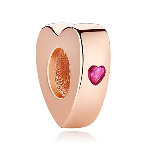 Featherwish 925 sterling silver rose gold you & me love ciondolo a forma di cuore con zirconi rosa per pandora e bracciali europeo