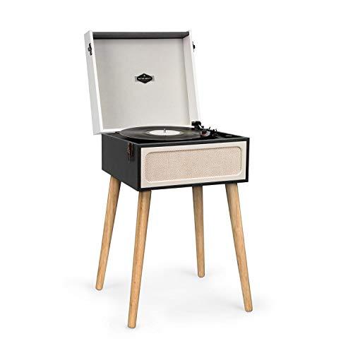 auna Sarah Ann • Plattenspieler mit integrierten Stereolautsprechern • Retro Schallplattenspieler • Bluetooth • Kopfhörer-Anschluss • USB • 33, 45 und 78 U/min • Vintage Koffer-Design • schwarz-Creme