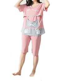 Bold N Elegant Pink Meow Soft Cotton Knee Length Maternity Sleepwear Sets Pregnancy Night Suit Feeding Nursing Tshirt Shorts Set