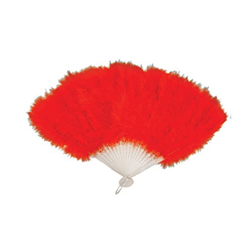 RED FEATHER HAND FAN LADIES BURLESQUE FANCY DRESS COSTUME by Henbrandt