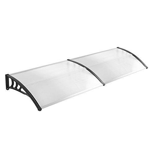 LZQ Vordach Türdach Stahl Pultbogenvordach Überdachung Polycarbonat Transparentes weiß Haustür Überdachung Haustürvordach Pultvordach - diverse Größen- diverse Farbe (200 x 90cm, Schwarz) -