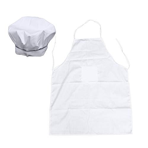 Mann Bäcker Kostüm - BESTonZON Kochschürze und Kochmütze Set - Küchenschürze Erwachsene weiße Schürze mit Metzger Hut Bäcker Kostüm Küchentasche Schürze für Männer und Frauen