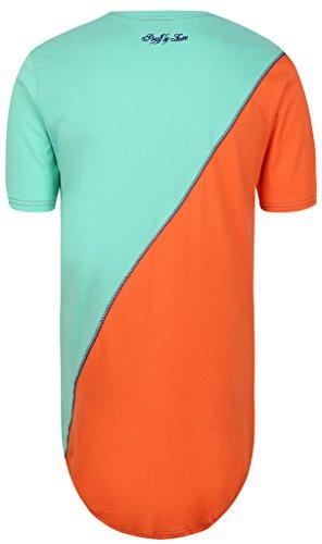 Pizoff Unisex Hip Hop Urban Basic Langes T Shirts mit Tarnmuster Y1293-BlueOrange