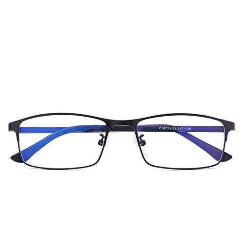 Mkulxina Die Anti- blauen klassischen Gläser des Metallglases der Business-Metall-Metallgläser der Business-Männer (Color : Black)