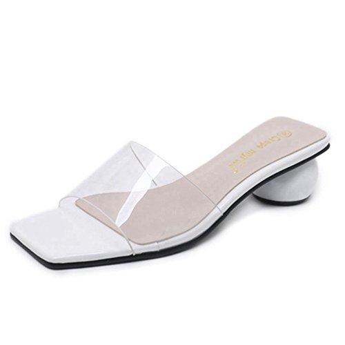 JRenok Women es Open Toe Block Heel Sandalen Bequeme Transparente Low Slip auf Folie Sandale Pantoffel Schuh -
