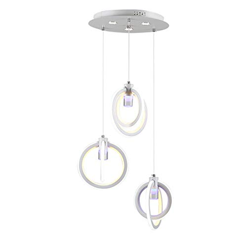 Oudan Eisen Kronleuchter Kreative Einfache LED * 3 Ring Stack Hohlgeschnitzten Design Weiß Cafe Neutral Licht 25 * 23 cm (Farbe : -, Größe : -) -