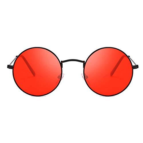 Sonnenbrille Männer Frauen Kreis Harz Objektiv Schwarz Rot Uv-Schutz Eyewears Runde Metall Frame Sonnenbrillen Unisex Frauen Männliche Sonnenbrille