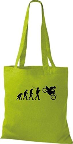 ShirtInStyle Stoffbeutel Jute Evolution Motorrad Biken Stunt Freebike Biker diverse Farbe lime green