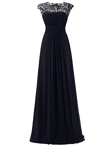 Beonddress Damen Bodenang Promi-Kleider Ärmellose Abendkleider Lang A Line Brautjungfernkleider Navy Blau
