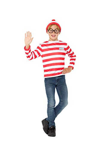 Wo Kind Ist Kostüm Wally - Smiffys SMIFFY 'S 41515 M Offizielles Lizenzprodukt Where 's Wally? Instant Kit, Rot & Weiß, M - UK Alter 7-9 Yrs