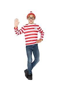 Smiffys 41515M Producto oficial de ¿Dónde está Wally? Kit instantáneo, rojo y blanco. Talla M(UK), de 7a 9años de edad.