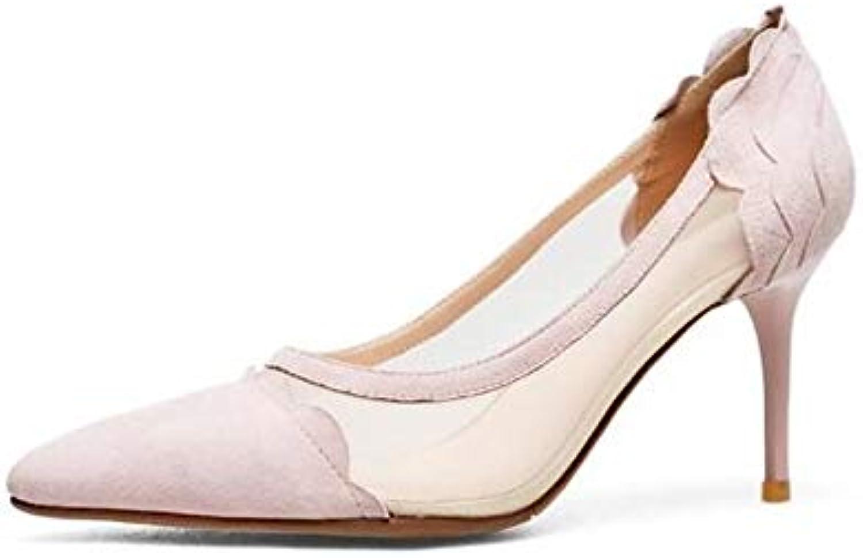 ZHZNVX Scarpe da Donna Tacco a Spillo in Pelle Scamosciata Scamosciata Scamosciata Tacco a Spillo Nero rosa, rosa, USA6.5-7   EU37   UK4.5... | bello  f194be
