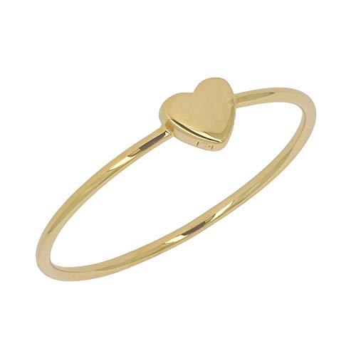 ISADY - Eula Gold - Damen Ring - 18 Karat (750) Gelbgold - Herzen - Vorsteckring Ehering Trauring - T 60 (19.1)