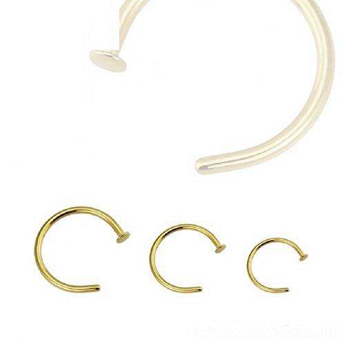 Gold Steel - Nasenring mit Flat Disc (Septum Piercing Klick Ring Nasenring Nose gold) Epaisseur: 1,2 mm | Diamètre: 12 mm