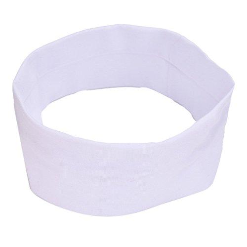 BZLine® Frauen Baumwolle Yoga elastische Turban Haar Band Stirnband (Weiß)