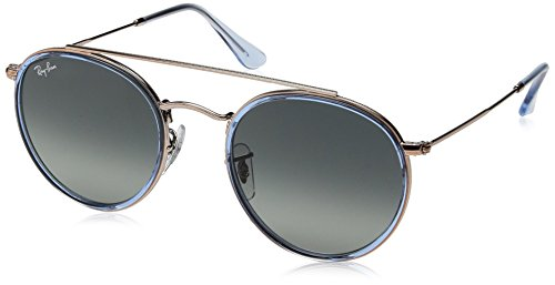 RAYBAN JUNIOR Unisex-Erwachsene Sonnenbrille Round Double Bridge Light Blue/Greygradientdarkgrey 51