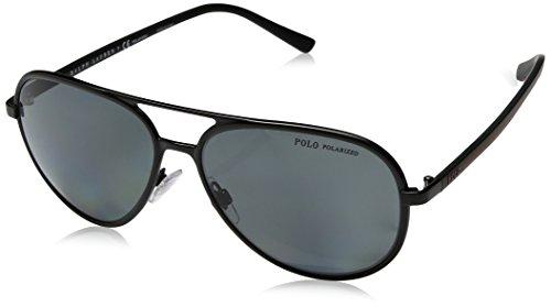 Ralph lauren polo 0ph3102, occhiali da sole uomo, nero (semi shiny black/polardarkgrey), 59