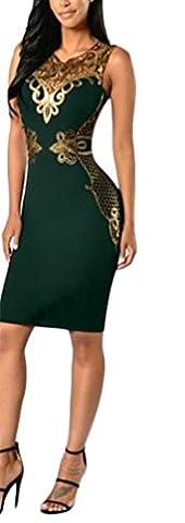 Damen Sommer Elegant Exklusives Abendkleider Kurz Mit Spitze Cocktailkleid Slim Fit Ärmellos V-Ausschnitt Cocktail Partykleider Glitzer