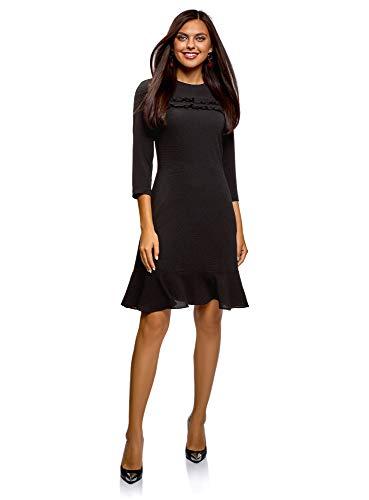 oodji Ultra Damen Tailliertes Kleid mit Rüschen, Schwarz, DE 36 / EU 38 / S