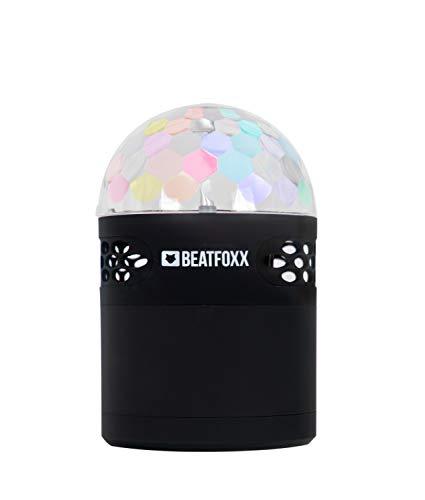 Beatfoxx Discoboy portabler LED-Bluetooth-Lautsprecher tragbare Akku-Lautsprecherbox (3 integrierte LEDs für Kaleidoskopartigen Discokugel-Effekt, UKW-Radio, AUX-Eingang) schwarz