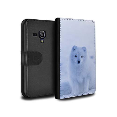 eSwish PU-Leder Hülle/Case/Tasche/Cover für Samsung Galaxy S3 Mini/Weißer Polarfuchs Welpe Muster/Süß Baby Tier Fotos Kollektion (S3 Samsung Welpe Fall Galaxy)