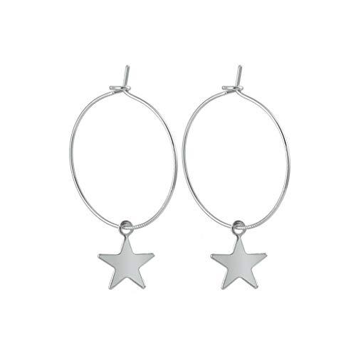 Bobury Pendientes Plateado Perforada Estrella aro