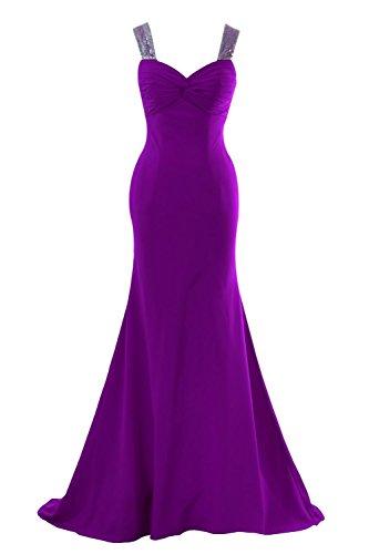 YiYaDawn Langes Meerjungfrau Abendkleid Ballkleid Festkleid für Damen Purpur