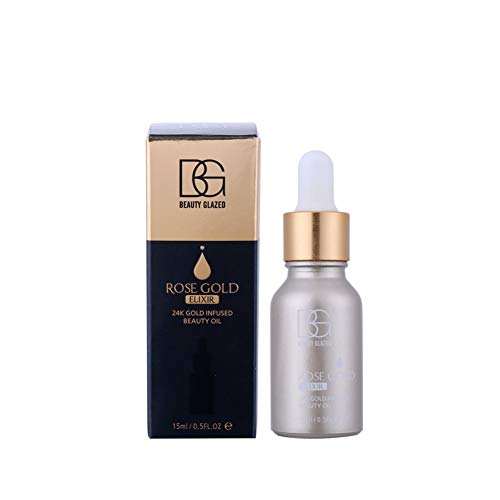 Allbesta Hyaluronique Acid Sérum 24k Rose Gold Elixir Moisturizing Hydration Anti Ageing Infused Essence Oil Drops Makeup Foundation Face Care
