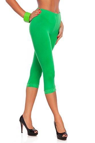 chnitten 3/4 Länge Baumwollleggings mit Spitze alle Farben & alle Größen - Grün, 42 (Körper Passt)
