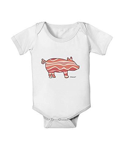 qidushop Bacon Pig Silhouette Baby Strampler Outfits Kurzarm Spielanzug Kleidung Gr. 74, weiß