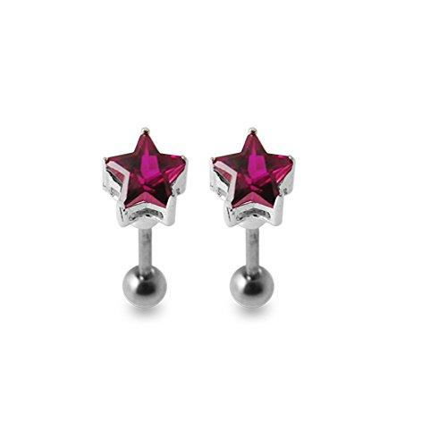 Bijou Piercing oreille Etoile pierres fantaisies argent sterling 925 avec Barbell acier chirurgical 316L et boule 4mm. Vendu par paire. Red