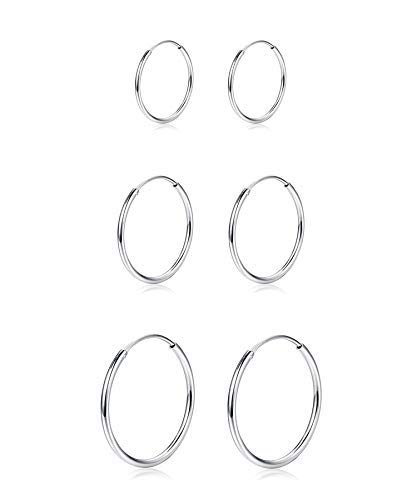 Sllaiss - Set di 3 paia di orecchini a cerchio in argento Sterling 925, ipoallergenici e Argento, colore: Type A:10 15 20mm, cod. RJEUA0009v101520