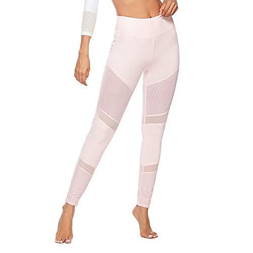 QINPIN Frauen einfarbig Nähte Hohl hüfte Yogahosen Jogginghose Leggings Pulver S