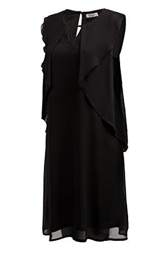 Meaneor Damen Sommer Chiffonkleid Freizeitkleid Ärmelloses Kleid Knielang Partykleid in festlicher Optik Party Arbeit A-Schwarz