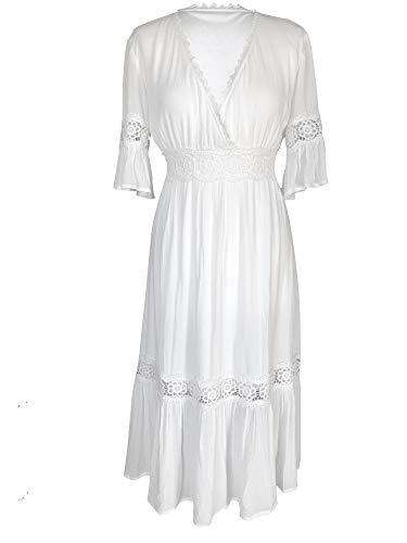Empire Maxi (Kim-zy Spitzenkleid, Weiß, Boho-Stil, einfarbig, Midi-Länge, Empire-Stil - 44 - beige)