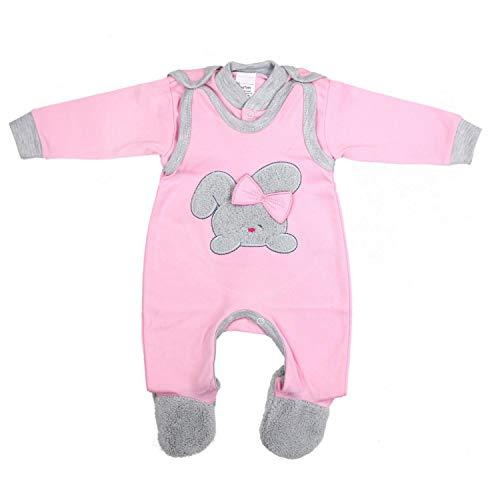TupTam Baby Mädchen Strampler mit Babyjäckchen 2-tlg. Set, Farbe: Rosa / Grau, Größe: 62