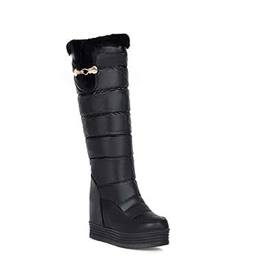 AllhqFashion Damen Wedges Blend-Materialien Rein Mitte-Spitze Stiefel mit Metalldekoration, Weiß, 34