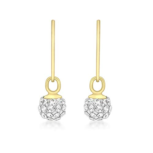 Carissima Gold 9 ct Yellow Gold 5 mm Crystal Ball Drop Earrings - Ball Drop Ohrringe Gold