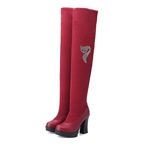 AllhqFashion Damen Rein Blend-Materialien Hoher Absatz Ziehen Auf Rund Zehe Stiefel Rot