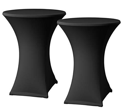 Stehtischhussen Schwarz x 2 - Stehtisch Rock - Stehtisch Tische - Bistrotisch - Tisch Hussen - ∅80-85 x 110 cm - geeignet für Gaststättengewerbe Ereignis | Cocktailparty | Hochzeit | Tischhusse (Rock Schwarz Tisch)