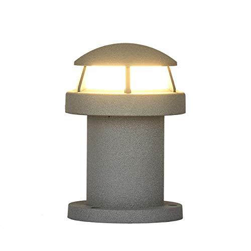 Topmo-plus lampioncino da giardino moderno/lampione da sentieri design/palo da giardino terra alluminio / 9w led bridgelux cob/lampione da patio/sentieri ip65 grigio 3200k 990lm 7,87 inch