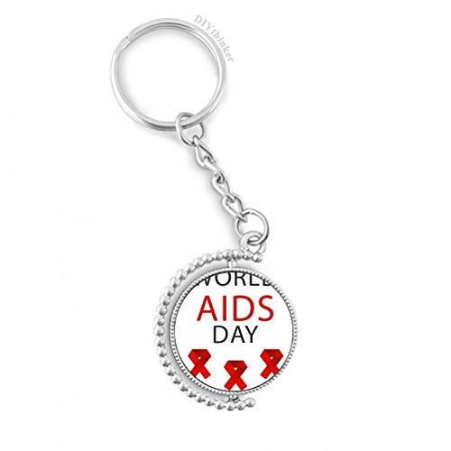 DIYthinker AIDS-Tag Rot Ribbon HIV Awareness Drehbare Schlüsselanhänger Ringe 1.2 Zoll x 3.5 Zoll Mehrfarbig