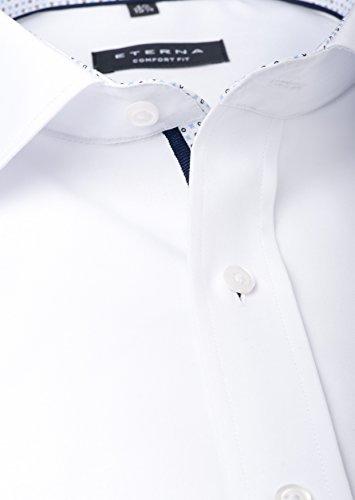 Eterna - Comfort Fit - Bügelfreies Herren Langarm Hemd mit Kent Kragen in Weiß oder Blau (8501 E37R) Weiß (00)