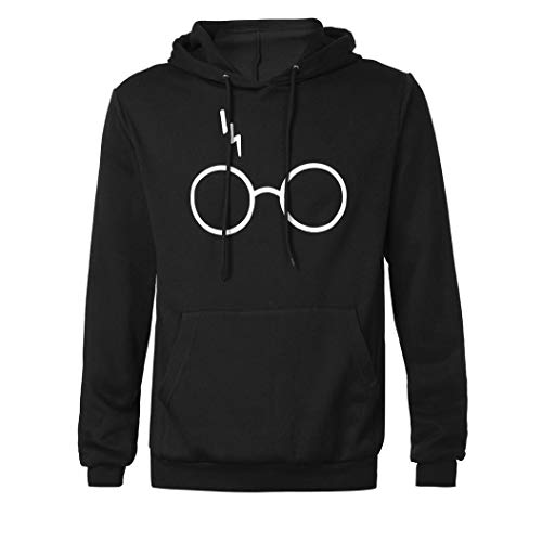 LANSKIRT Herren Langarm Rundhals Kapuzenpullover Harry Potter Blitz Gläser Druck Hoodie Tasche Sweatshirt Pullover mit Kapuzen Casual Gedruckt Kapuzenjacke
