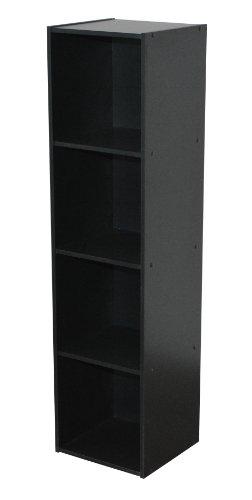 Compo ER Meuble de Rangement Colonne 4 Casiers Bibliothèque Etagères Cubes Noir 31 x 29,5 x 123 cm