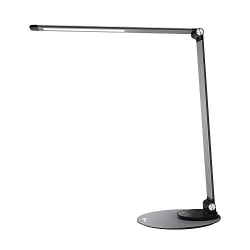 LED Schreibtischlampe TaoTronics Metall Tageslichtlampe mit 6 Helligkeits- und 3 Farbstufen, Ultradünn, augenschonende LED, schlaue Speicherfunktion, praktischer USB Ladeanschluss, Energieeffizient silbergrau