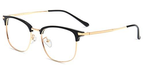 Zinff S3543X Schwarz und Golden Damen Brille Retro Vintage Rechteckig Nerdbrille Clear Linsebreite...